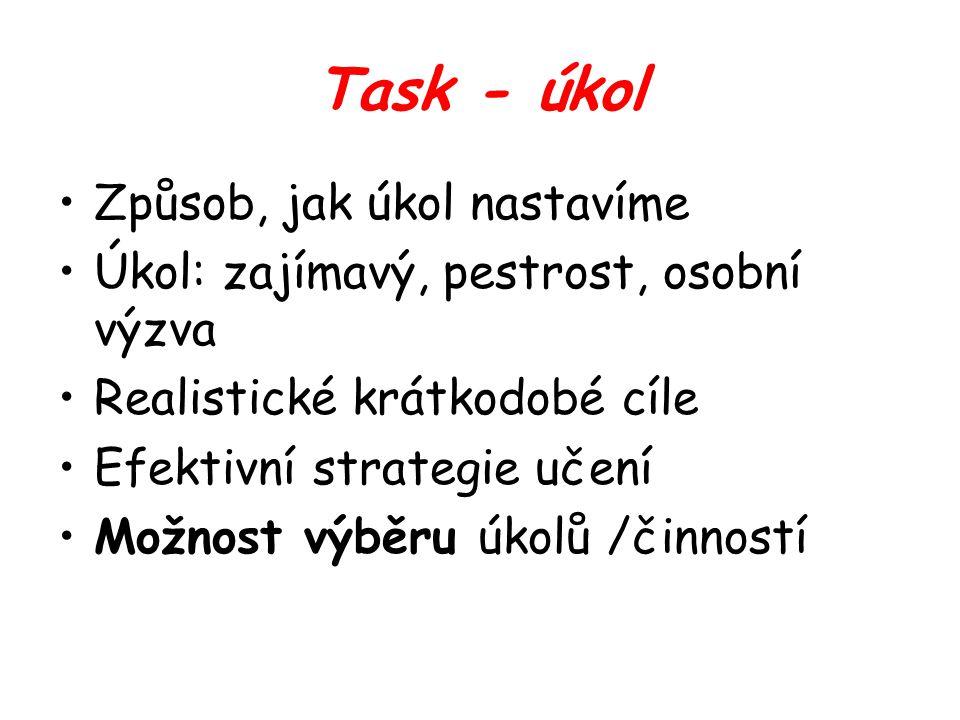 Task - úkol Způsob, jak úkol nastavíme Úkol: zajímavý, pestrost, osobní výzva Realistické krátkodobé cíle Efektivní strategie učení Možnost výběru úkolů /činností