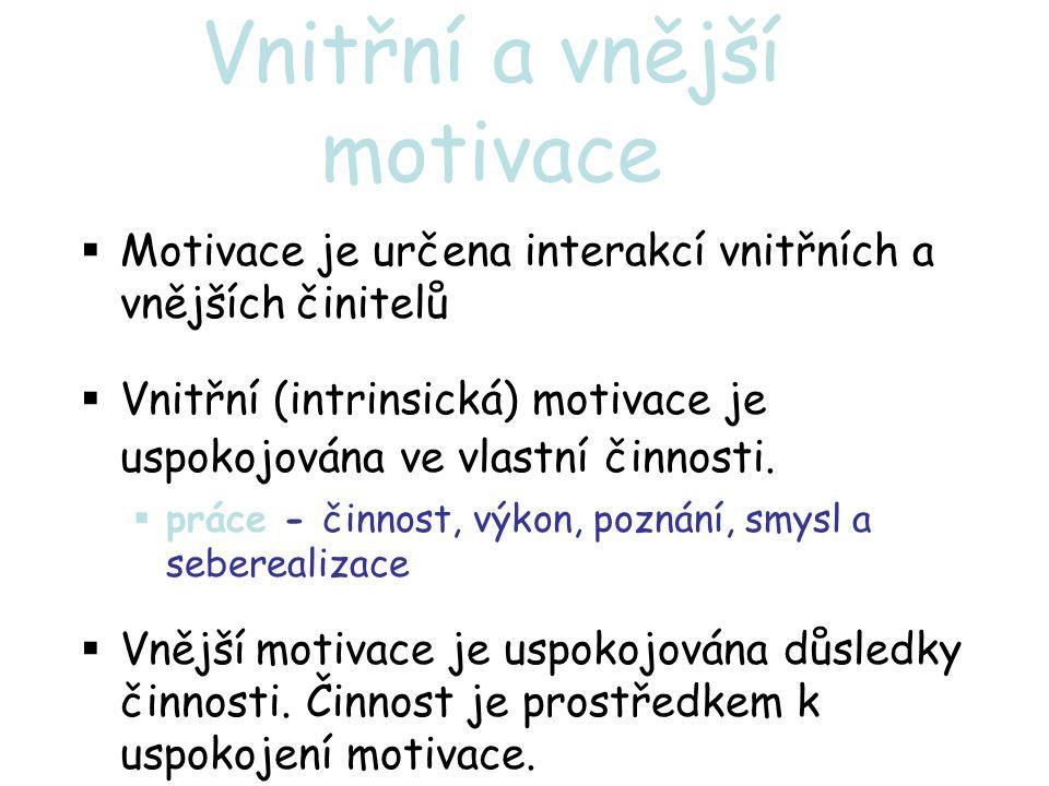 Vnitřní a vnější motivace  Motivace je určena interakcí vnitřních a vnějších činitelů  Vnitřní (intrinsická) motivace je uspokojována ve vlastní činnosti.