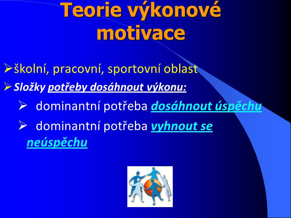 Teorie výkonové motivace  školní, pracovní, sportovní oblast  Složky potřeby dosáhnout výkonu:  dominantní potřeba dosáhnout úspěchu  dominantní potřeba vyhnout se neúspěchu