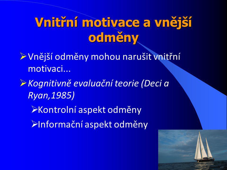 Vnitřní motivace a vnější odměny  Vnější odměny mohou narušit vnitřní motivaci...  Kognitivně evaluační teorie (Deci a Ryan,1985)  Kontrolní aspekt