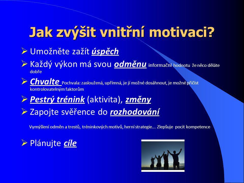 Jak zvýšit vnitřní motivaci?  Umožněte zažít úspěch  Každý výkon má svou odměnu informační hodnotu že něco děláte dobře  Chvalte Pochvala: zaslouže