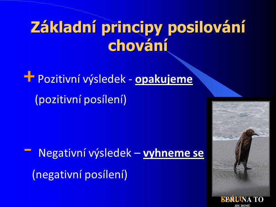 Základní principy posilování chování + Pozitivní výsledek - opakujeme (pozitivní posílení) - Negativní výsledek – vyhneme se (negativní posílení) KAŠL