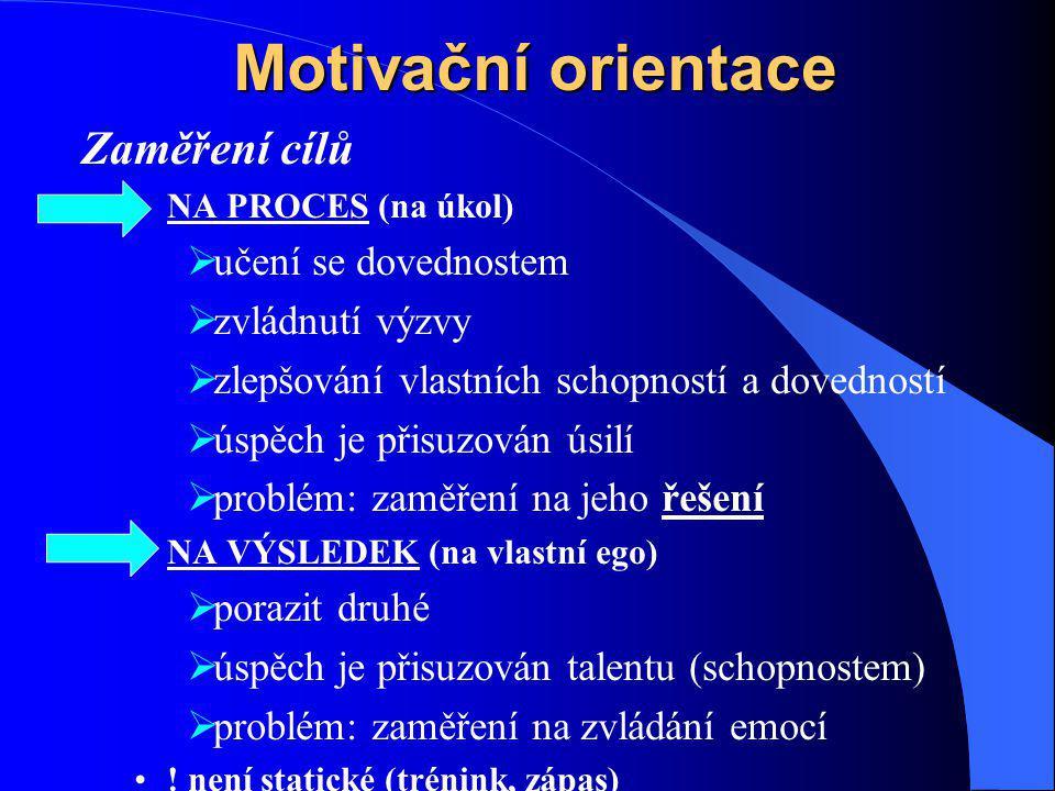 Motivační orientace Zaměření cílů NA PROCES (na úkol)  učení se dovednostem  zvládnutí výzvy  zlepšování vlastních schopností a dovedností  úspěch je přisuzován úsilí  problém: zaměření na jeho řešení NA VÝSLEDEK (na vlastní ego)  porazit druhé  úspěch je přisuzován talentu (schopnostem)  problém: zaměření na zvládání emocí .
