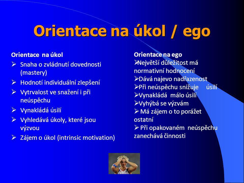 Orientace na úkol / ego Orientace na úkol  Snaha o zvládnutí dovednosti (mastery)  Hodnotí individuální zlepšení  Vytrvalost ve snažení i při neúspěchu  Vynakládá úsilí  Vyhledává úkoly, které jsou výzvou  Zájem o úkol (intrinsic motivation) Orientace na ego  Největší důležitost má normativní hodnocení  Dává najevo nadřazenost  Při neúspěchu snižuje úsilí  Vynakládá málo úsilí  Vyhýbá se výzvám  Má zájem o to porážet ostatní  Při opakovaném neúspěchu zanechává činnosti