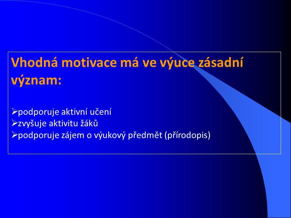 Vhodná motivace má ve výuce zásadní význam:  podporuje aktivní učení  zvyšuje aktivitu žáků  podporuje zájem o výukový předmět (přírodopis)
