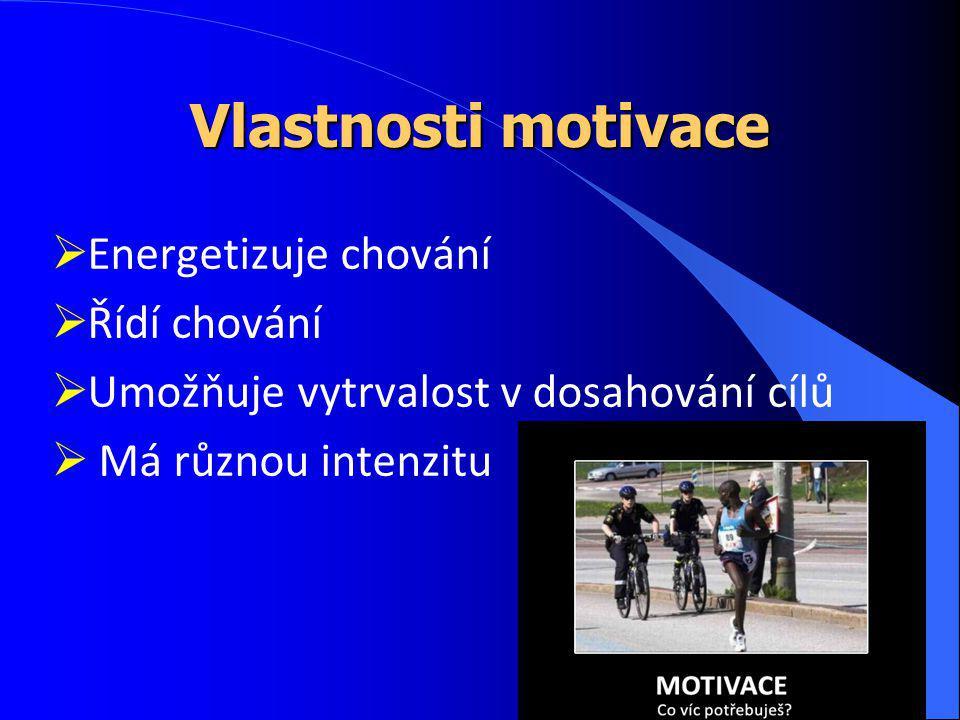 Vlastnosti motivace  Energetizuje chování  Řídí chování  Umožňuje vytrvalost v dosahování cílů  Má různou intenzitu
