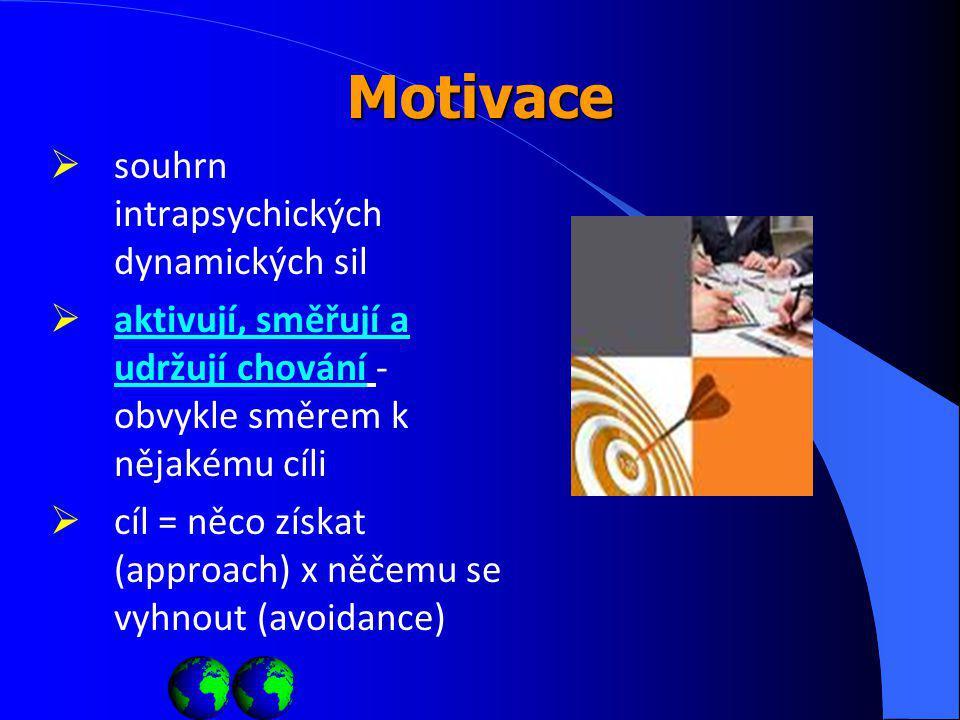 Motivace  souhrn intrapsychických dynamických sil  aktivují, směřují a udržují chování - obvykle směrem k nějakému cíli  cíl = něco získat (approach) x něčemu se vyhnout (avoidance)