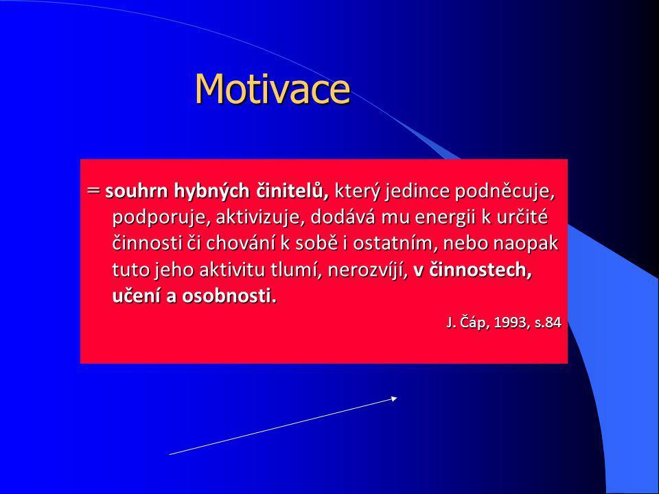 Motivace = souhrn hybných činitelů, který jedince podněcuje, podporuje, aktivizuje, dodává mu energii k určité činnosti či chování k sobě i ostatním, nebo naopak tuto jeho aktivitu tlumí, nerozvíjí, v činnostech, učení a osobnosti.
