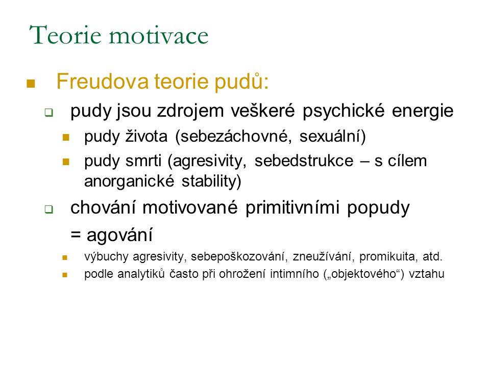 Teorie motivace Freudova teorie pudů:  pudy jsou zdrojem veškeré psychické energie pudy života (sebezáchovné, sexuální) pudy smrti (agresivity, sebed