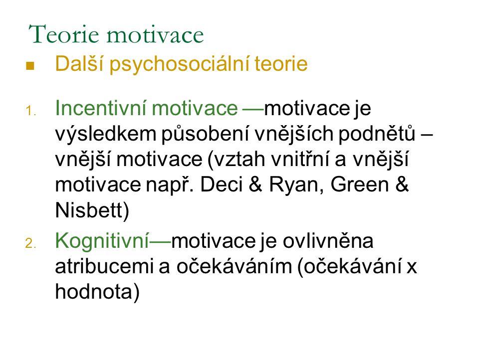 Další psychosociální teorie 1. Incentivní motivace —motivace je výsledkem působení vnějších podnětů – vnější motivace (vztah vnitřní a vnější motivace