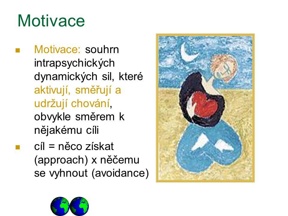 Motivace Motivace: souhrn intrapsychických dynamických sil, které aktivují, směřují a udržují chování, obvykle směrem k nějakému cíli cíl = něco získat (approach) x něčemu se vyhnout (avoidance)