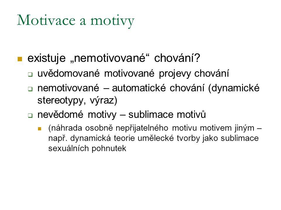 """existuje """"nemotivované"""" chování?  uvědomované motivované projevy chování  nemotivované – automatické chování (dynamické stereotypy, výraz)  nevědom"""