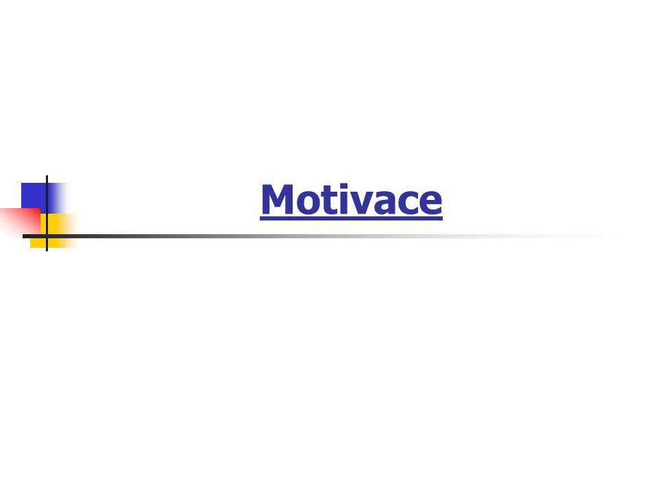 Přehled stimulačních prostředků:  stimulující činitel hmotný  pracovní hodnocení  společenské hodnocení  pracovní podmínky  hodnocení jednotlivce v pracovní skupině  vzájemné vztahy  obsah pracovní činnosti  osobnost a jednání vedoucího pracovníka  Motivace a stimulace