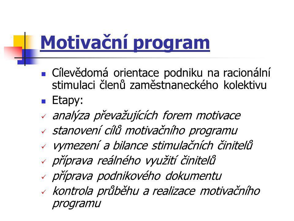 Motivační program Cílevědomá orientace podniku na racionální stimulaci členů zaměstnaneckého kolektivu Etapy: analýza převažujících forem motivace sta