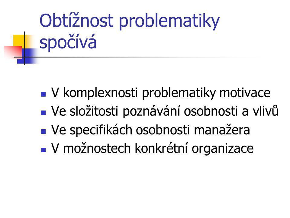 Obtížnost problematiky spočívá V komplexnosti problematiky motivace Ve složitosti poznávání osobnosti a vlivů Ve specifikách osobnosti manažera V možn