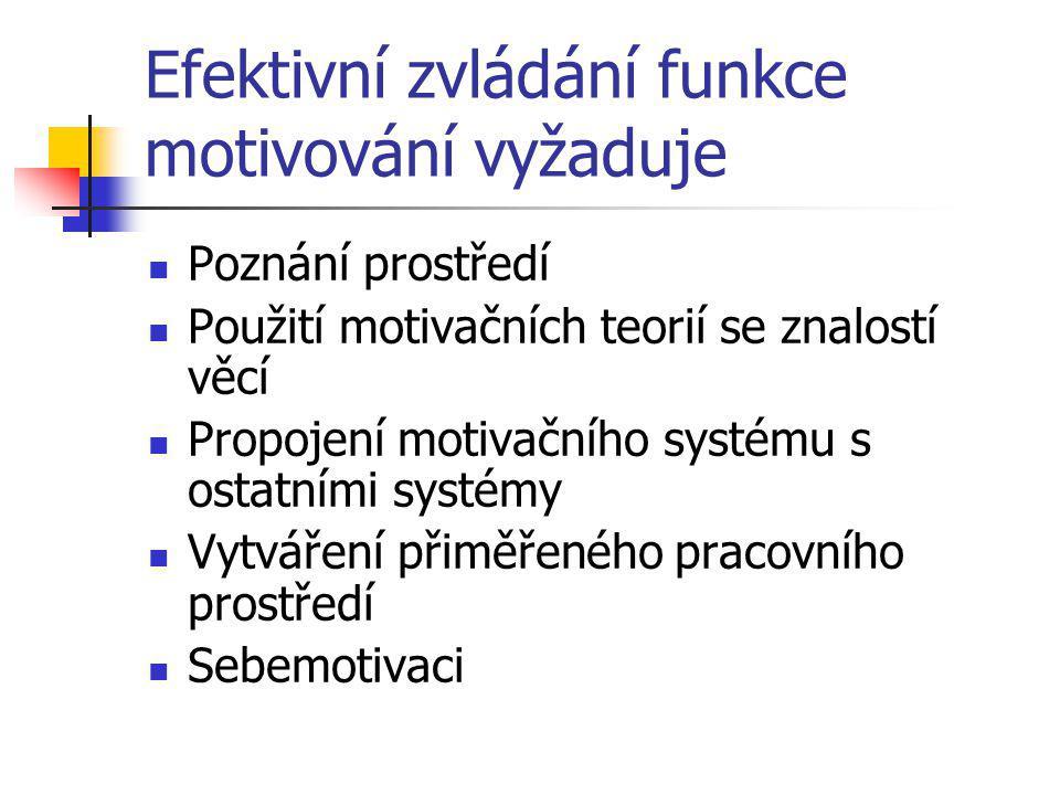 Efektivní zvládání funkce motivování vyžaduje Poznání prostředí Použití motivačních teorií se znalostí věcí Propojení motivačního systému s ostatními