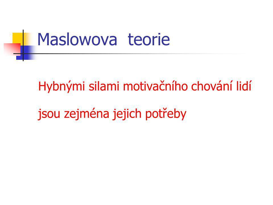 Maslowova teorie Hybnými silami motivačního chování lidí jsou zejména jejich potřeby