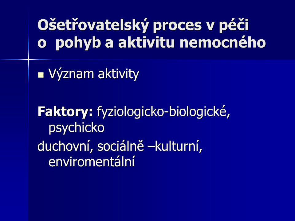 Ošetřovatelský proces v péči o pohyb a aktivitu nemocného Význam aktivity Význam aktivity Faktory: fyziologicko-biologické, psychicko duchovní, sociál