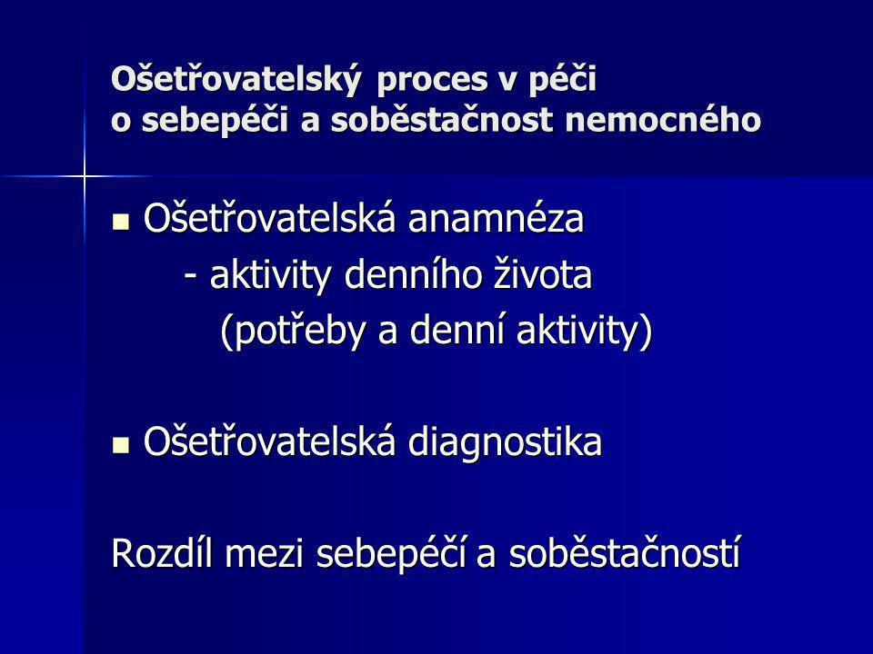 Ošetřovatelský proces v péči o sebepéči a soběstačnost nemocného Ošetřovatelská anamnéza Ošetřovatelská anamnéza - aktivity denního života - aktivity
