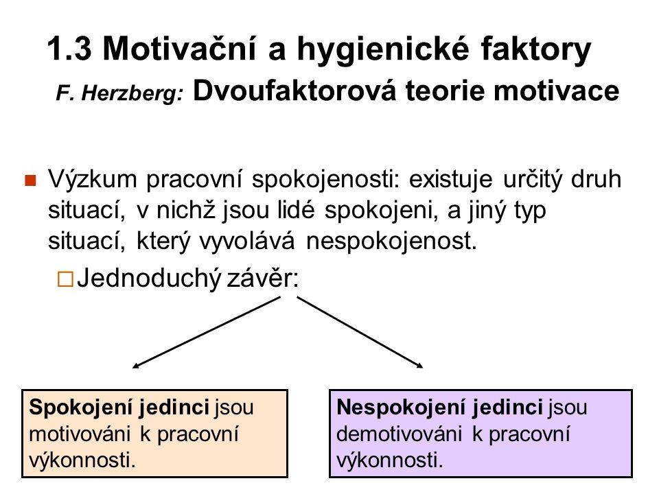 1.3 Motivační a hygienické faktory F. Herzberg: Dvoufaktorová teorie motivace Výzkum pracovní spokojenosti: existuje určitý druh situací, v nichž jsou