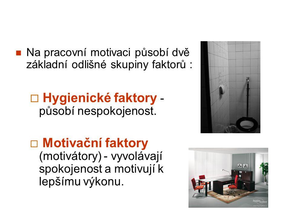 Na pracovní motivaci působí dvě základní odlišné skupiny faktorů :  Hygienické faktory - působí nespokojenost.  Motivační faktory (motivátory) - vyv
