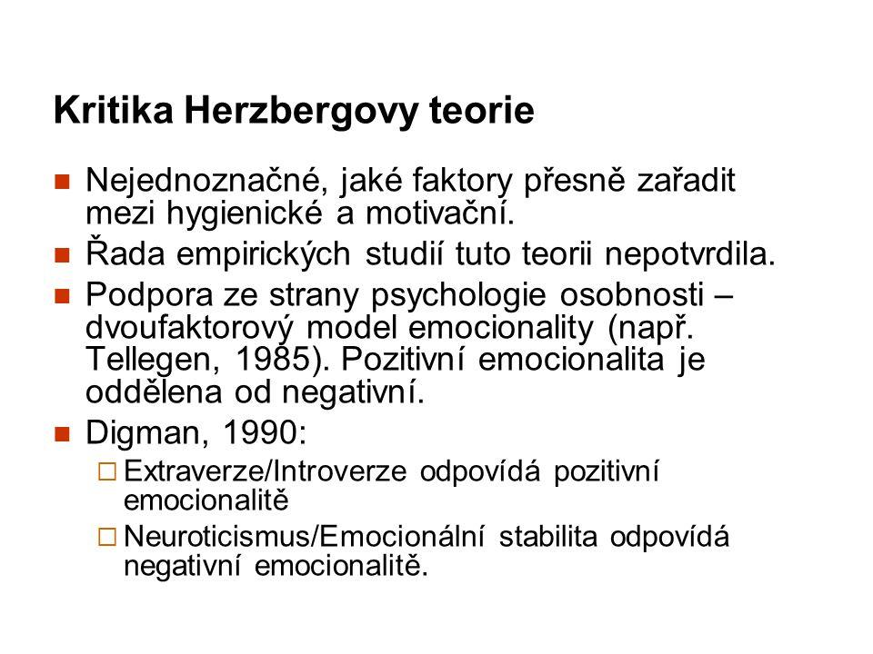 Kritika Herzbergovy teorie Nejednoznačné, jaké faktory přesně zařadit mezi hygienické a motivační. Řada empirických studií tuto teorii nepotvrdila. Po
