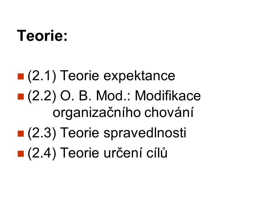 Teorie: (2.1) Teorie expektance (2.2) O. B. Mod.: Modifikace organizačního chování (2.3) Teorie spravedlnosti (2.4) Teorie určení cílů