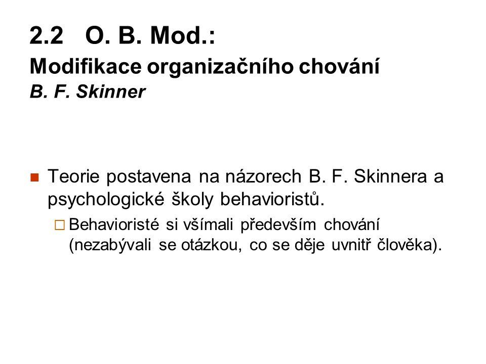 2.2 O. B. Mod.: Modifikace organizačního chování B. F. Skinner Teorie postavena na názorech B. F. Skinnera a psychologické školy behavioristů.  Behav