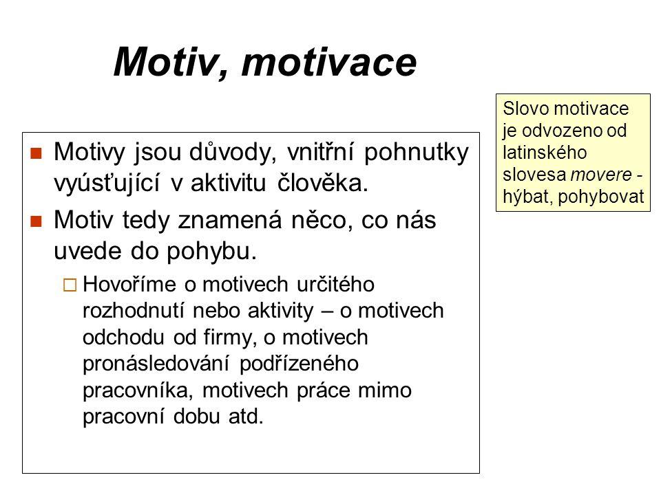 Motiv, motivace Motivy jsou důvody, vnitřní pohnutky vyúsťující v aktivitu člověka. Motiv tedy znamená něco, co nás uvede do pohybu.  Hovoříme o moti