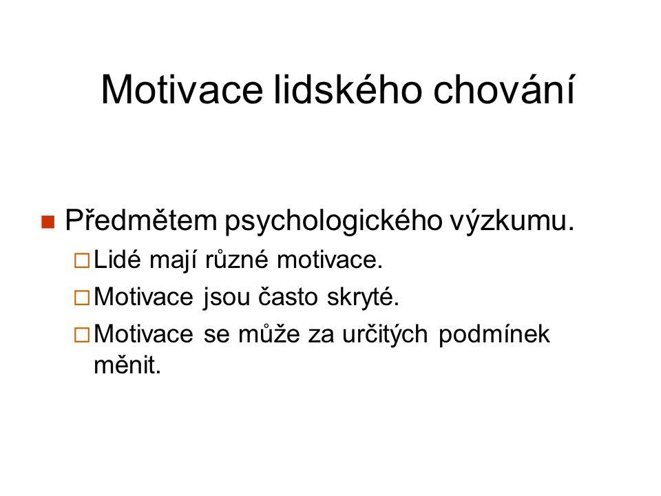 Motivace lidského chování Předmětem psychologického výzkumu.  Lidé mají různé motivace.  Motivace jsou často skryté.  Motivace se může za určitých