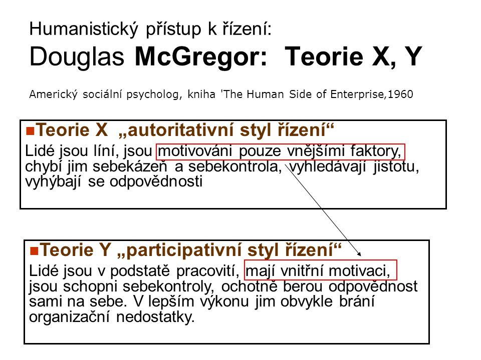 """Humanistický přístup k řízení: Douglas McGregor: Teorie X, Y Americký sociální psycholog, kniha 'The Human Side of Enterprise'1960 Teorie Y """"participa"""