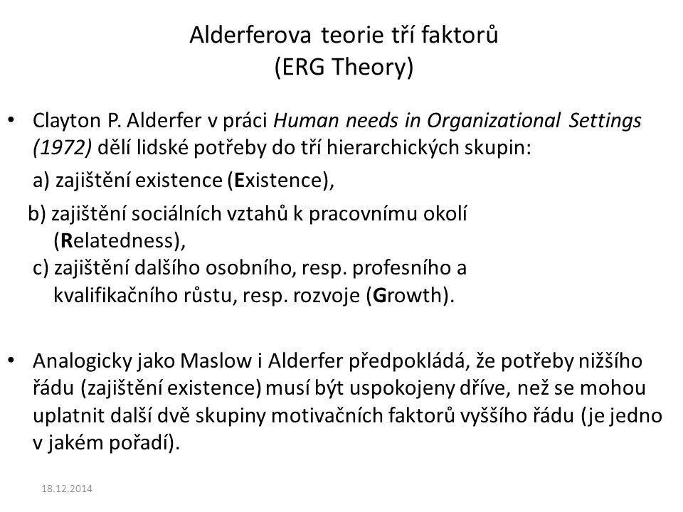 Alderferova teorie tří faktorů (ERG Theory) Clayton P. Alderfer v práci Human needs in Organizational Settings (1972) dělí lidské potřeby do tří hiera