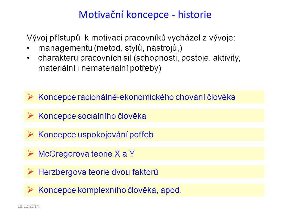 Motivační koncepce - historie Vývoj přístupů k motivaci pracovníků vycházel z vývoje: managementu (metod, stylů, nástrojů,) charakteru pracovních sil