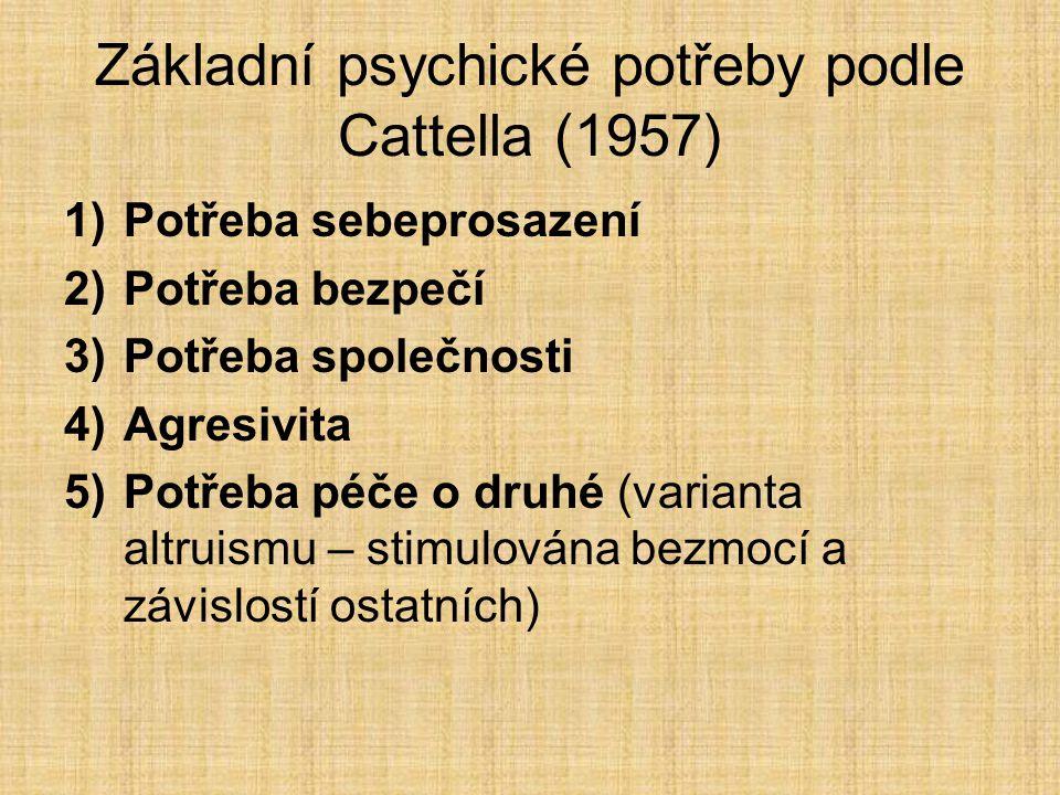 Základní psychické potřeby podle Cattella (1957) 1)Potřeba sebeprosazení 2)Potřeba bezpečí 3)Potřeba společnosti 4)Agresivita 5)Potřeba péče o druhé (varianta altruismu – stimulována bezmocí a závislostí ostatních)