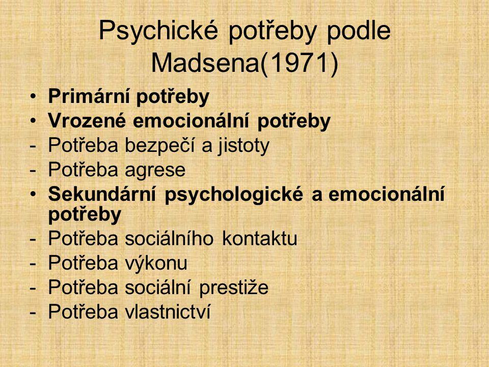 Psychické potřeby podle Madsena(1971) Primární potřeby Vrozené emocionální potřeby -Potřeba bezpečí a jistoty -Potřeba agrese Sekundární psychologické a emocionální potřeby -Potřeba sociálního kontaktu -Potřeba výkonu -Potřeba sociální prestiže -Potřeba vlastnictví