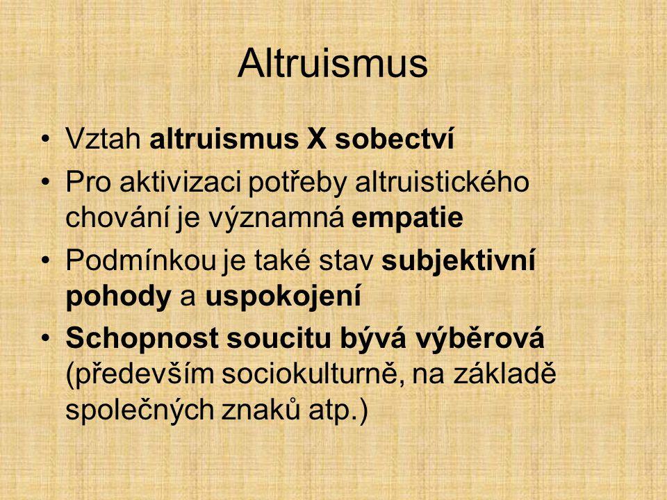 Altruismus Vztah altruismus X sobectví Pro aktivizaci potřeby altruistického chování je významná empatie Podmínkou je také stav subjektivní pohody a uspokojení Schopnost soucitu bývá výběrová (především sociokulturně, na základě společných znaků atp.)