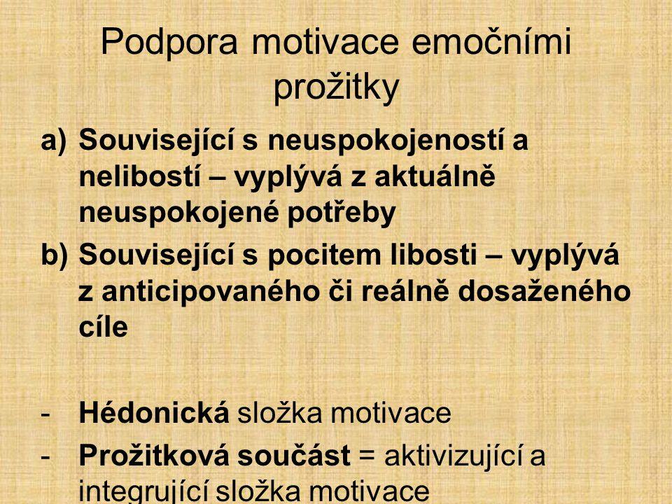 Podpora motivace emočními prožitky a)Související s neuspokojeností a nelibostí – vyplývá z aktuálně neuspokojené potřeby b)Související s pocitem libosti – vyplývá z anticipovaného či reálně dosaženého cíle -Hédonická složka motivace -Prožitková součást = aktivizující a integrující složka motivace