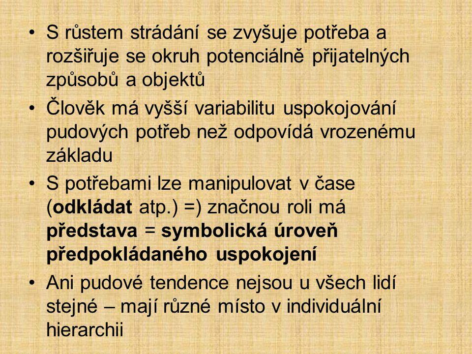 Základní pudy a jejich význam 1) Pud výživy (uchování biologické existence jedince; někdy až alimentační libido = př.