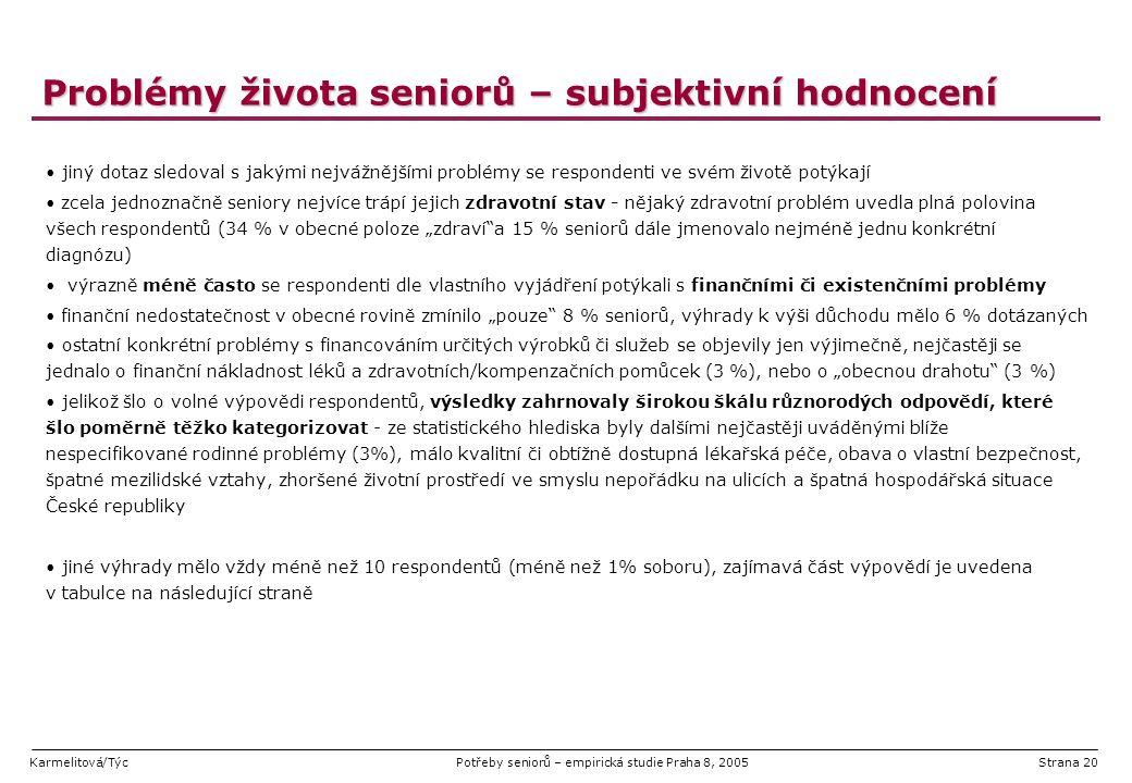 Karmelitová/TýcPotřeby seniorů – empirická studie Praha 8, 2005Strana 20 Problémy života seniorů – subjektivní hodnocení jiný dotaz sledoval s jakými