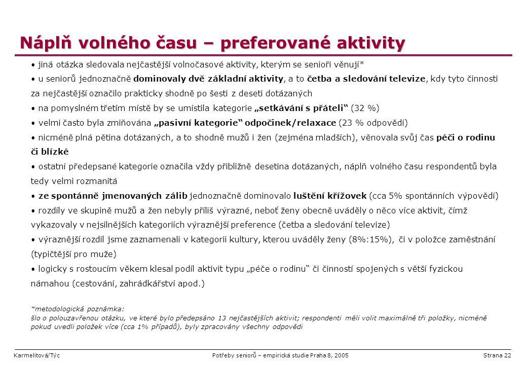 Karmelitová/TýcPotřeby seniorů – empirická studie Praha 8, 2005Strana 22 Náplň volného času – preferované aktivity jiná otázka sledovala nejčastější v