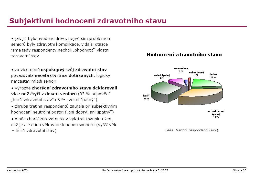 Karmelitová/TýcPotřeby seniorů – empirická studie Praha 8, 2005Strana 28 Subjektivní hodnocení zdravotního stavu jak již bylo uvedeno dříve, největším