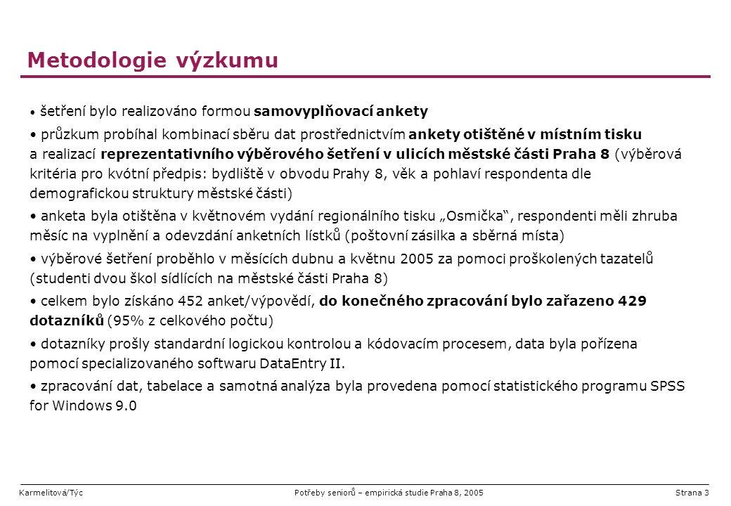 Karmelitová/TýcPotřeby seniorů – empirická studie Praha 8, 2005Strana 3 Metodologie výzkumu šetření bylo realizováno formou samovyplňovací ankety průz