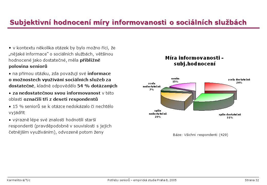 Karmelitová/TýcPotřeby seniorů – empirická studie Praha 8, 2005Strana 32 Subjektivní hodnocení míry informovanosti o sociálních službách v kontextu ně