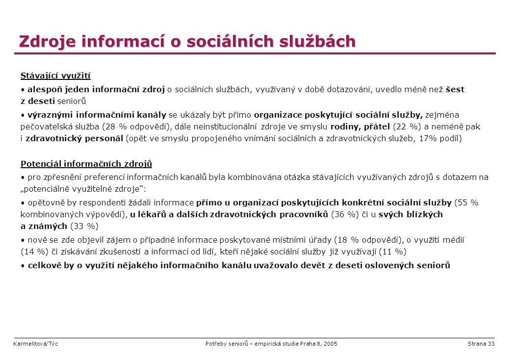 Karmelitová/TýcPotřeby seniorů – empirická studie Praha 8, 2005Strana 33 Zdroje informací o sociálních službách Stávající využití alespoň jeden inform