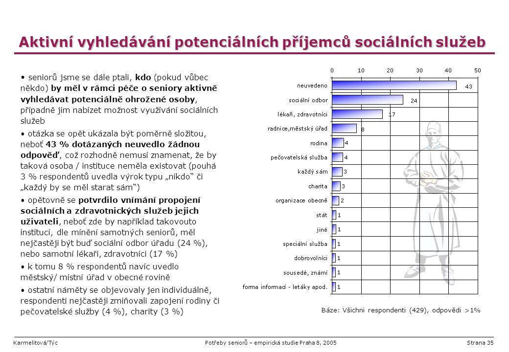 Karmelitová/TýcPotřeby seniorů – empirická studie Praha 8, 2005Strana 35 Aktivní vyhledávání potenciálních příjemců sociálních služeb seniorů jsme se