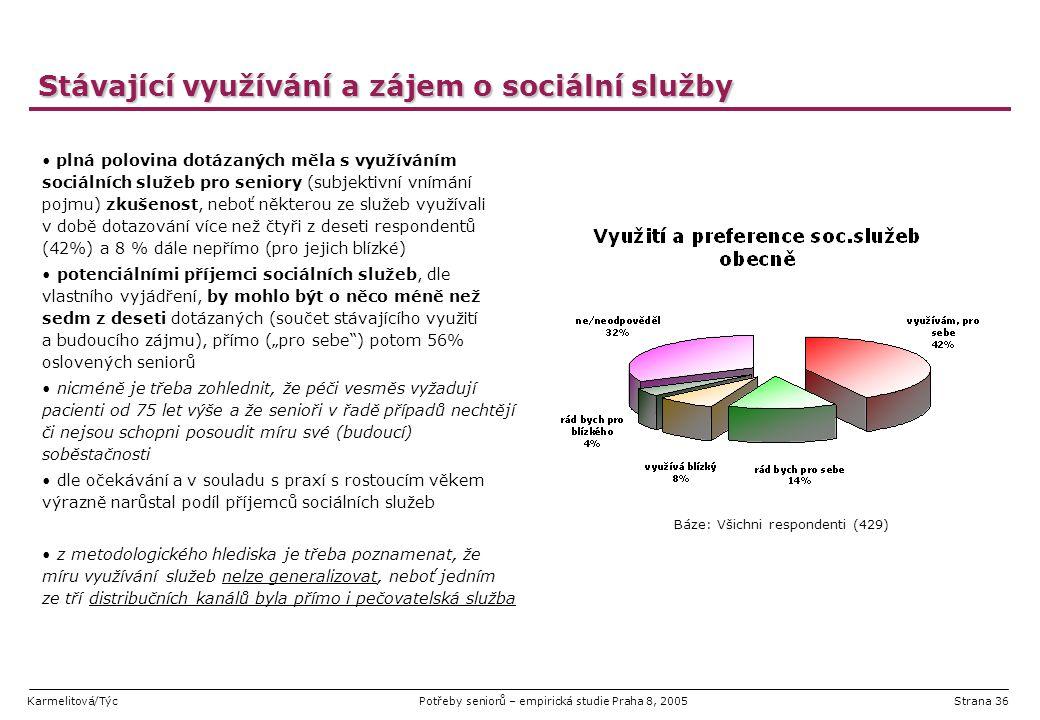 Karmelitová/TýcPotřeby seniorů – empirická studie Praha 8, 2005Strana 36 Stávající využívání a zájem o sociální služby plná polovina dotázaných měla s