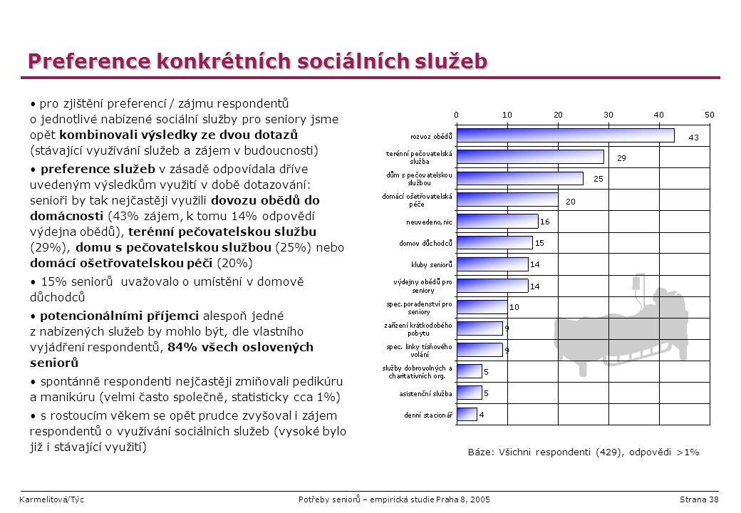 Karmelitová/TýcPotřeby seniorů – empirická studie Praha 8, 2005Strana 38 Preference konkrétních sociálních služeb pro zjištění preferencí / zájmu resp