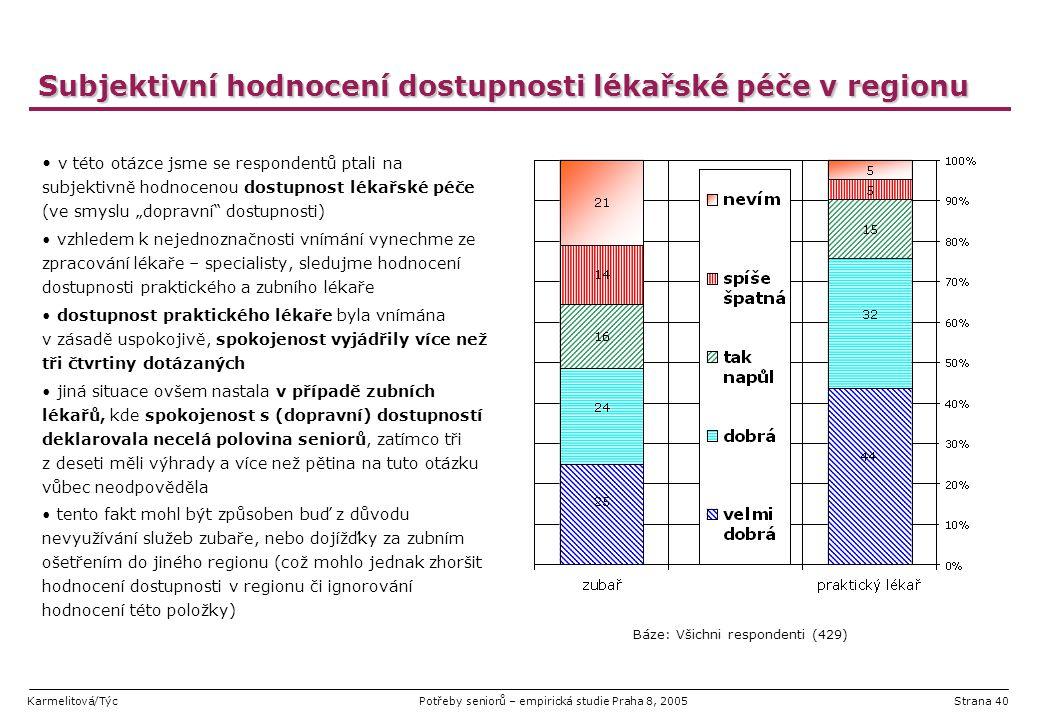 Karmelitová/TýcPotřeby seniorů – empirická studie Praha 8, 2005Strana 40 Subjektivní hodnocení dostupnosti lékařské péče v regionu v této otázce jsme