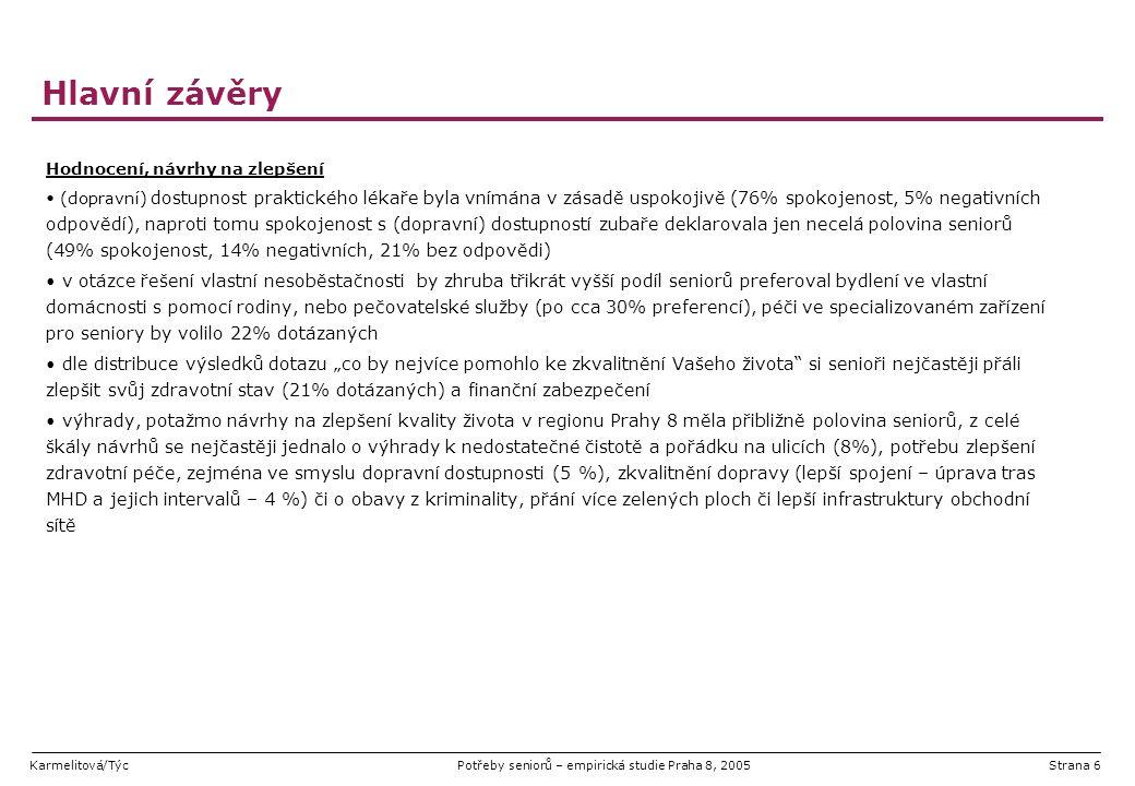 """Karmelitová/TýcPotřeby seniorů – empirická studie Praha 8, 2005Strana 37 Využívané sociální služby alespoň jednu konkrétní využívanou službu pro seniory uvedla více než polovina všech dotázaných (44% dotazníků bez odpovědi) nejčastěji využívanými službami byly služby zajištění stravování, kdy dovoz obědů do domácnosti uvedlo 31% ze všech dotázaných a 7% navíc zmínilo i docházení do """"výdejny obědů statisticky významné bylo využití služeb terénní pečovatelské služby (21 %) a služeb domu s pečovatelskou službou (10 %) opět podotýkáme, že tato skutečnost může být do jisté míry ovlivněna distribucí dotazníků i pomocí pečovatelské služby Báze: Všichni respondenti (429), odpovědi >1%"""