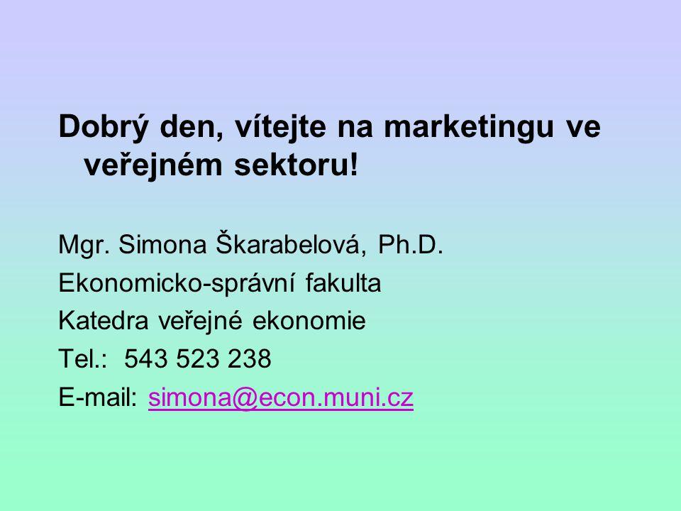 Dobrý den, vítejte na marketingu ve veřejném sektoru! Mgr. Simona Škarabelová, Ph.D. Ekonomicko-správní fakulta Katedra veřejné ekonomie Tel.: 543 523